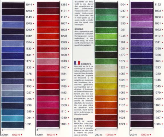Tabella colori Rayon 1